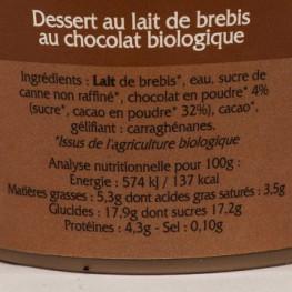 DESSERT CHOCOLAT LAIT BREBIS